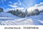 Mountain Ski Slope On A Sunny...