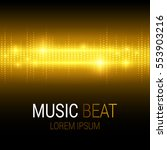music beat. golden lights... | Shutterstock .eps vector #553903216