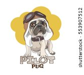 puppy pug in a leather pilot... | Shutterstock .eps vector #553907512