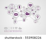 infographics map with symbols... | Shutterstock .eps vector #553908226