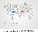 infographics map with symbols... | Shutterstock .eps vector #553908232