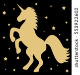 cute gold unicorn silhouette... | Shutterstock .eps vector #553922602