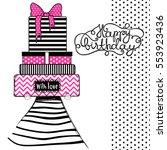 happy birthday greeting card ... | Shutterstock .eps vector #553923436