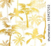 vector golden palm trees summer ... | Shutterstock .eps vector #553927252