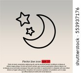 web line icon. moon and stars | Shutterstock .eps vector #553937176