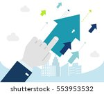 upwards. hand push on a flying... | Shutterstock .eps vector #553953532