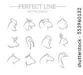 Stock vector animals vector line icons set 553960132