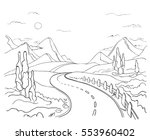 winding road in the mountains | Shutterstock .eps vector #553960402