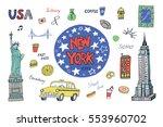 new york city illustrations set. | Shutterstock .eps vector #553960702