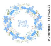 round wreath made of blue... | Shutterstock .eps vector #553963138