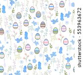seamless pattern with easter... | Shutterstock .eps vector #553963672