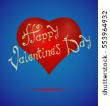 happy valentines day. blue card ... | Shutterstock .eps vector #553964932