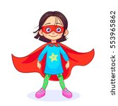 brave girl in superhero costume ... | Shutterstock .eps vector #553965862
