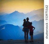 silhouette of family enjoy the... | Shutterstock . vector #553975162