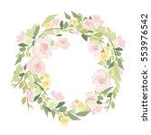watercolor bouquet of flowers.... | Shutterstock .eps vector #553976542