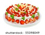 Beautiful decorated fruit cake , strawberry-banana paradise isolated on white - stock photo