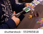 children cut with scissors...   Shutterstock . vector #553985818