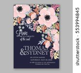 anemone wedding invitation card ... | Shutterstock .eps vector #553994845