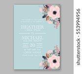 anemone wedding invitation card ... | Shutterstock .eps vector #553994956