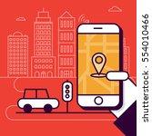 navigation mobile application... | Shutterstock .eps vector #554010466