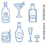 Icon set of different alcoholic drinks and spirituous beverages in bottles and glasses, as whiskey, gin, martini and grog. Hand drawn doodle vector illustration.