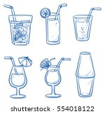 icon set of different cocktails ... | Shutterstock .eps vector #554018122