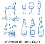 icon set of different wine and... | Shutterstock .eps vector #554018146