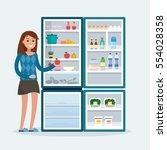 woman with fridge. open... | Shutterstock .eps vector #554028358
