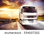 fast transport truck. mixed... | Shutterstock . vector #554037202