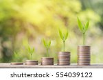 money coin steps with bokeh... | Shutterstock . vector #554039122