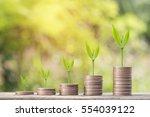 money coin steps with bokeh...   Shutterstock . vector #554039122