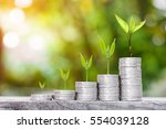 close up of stacking gold coins ...   Shutterstock . vector #554039128