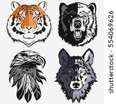 tiger eagle wolf bear logo... | Shutterstock .eps vector #554069626