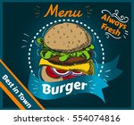 menu  burger  always fresh ... | Shutterstock .eps vector #554074816