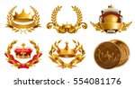 gold crown and laurel wreath ... | Shutterstock .eps vector #554081176
