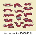 hand drawing ribbon set in... | Shutterstock .eps vector #554084596