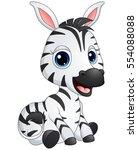 Stock vector vector illustration of cute baby zebra cartoon 554088088