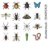 insects set icons in cartoon... | Shutterstock .eps vector #554091925