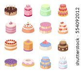 cakes set icons in cartoon... | Shutterstock .eps vector #554092012