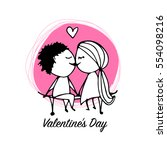 couple in love kissing ... | Shutterstock .eps vector #554098216