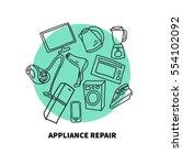 hand drawn appliances  ... | Shutterstock .eps vector #554102092