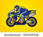 motorcycle racing side view... | Shutterstock .eps vector #554102506