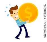 businessman trying hard to... | Shutterstock .eps vector #554130076