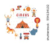 circus collection with carnival ... | Shutterstock .eps vector #554134132