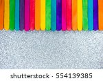 colorful popsicle sticks and... | Shutterstock . vector #554139385