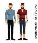 two men beards casual elegant... | Shutterstock .eps vector #554147092
