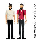 two men bearded look design... | Shutterstock .eps vector #554147272