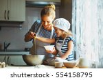 happy family in the kitchen.... | Shutterstock . vector #554158795