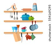 kitchen shelves with cooking... | Shutterstock .eps vector #554169295