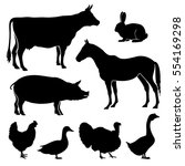 Stock vector farm farmyard animals vector silhouettes livestock cattle and chicken black silhouettes pig and 554169298
